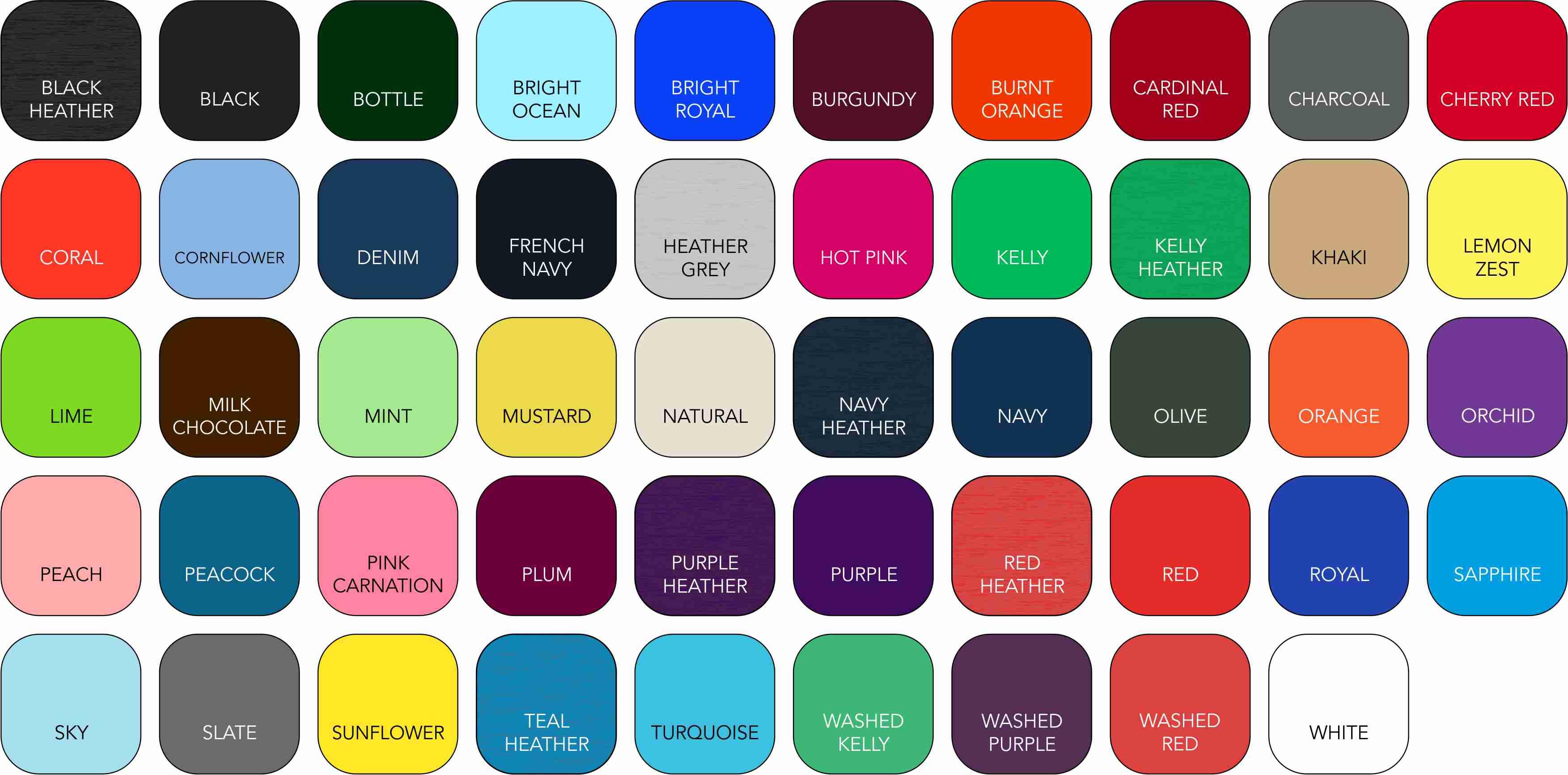 AQ010 Unisex Colour Range