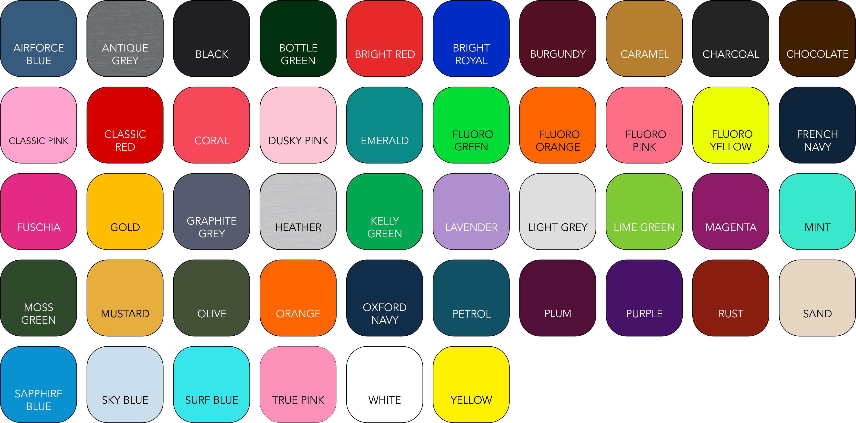BC045 Colour Range