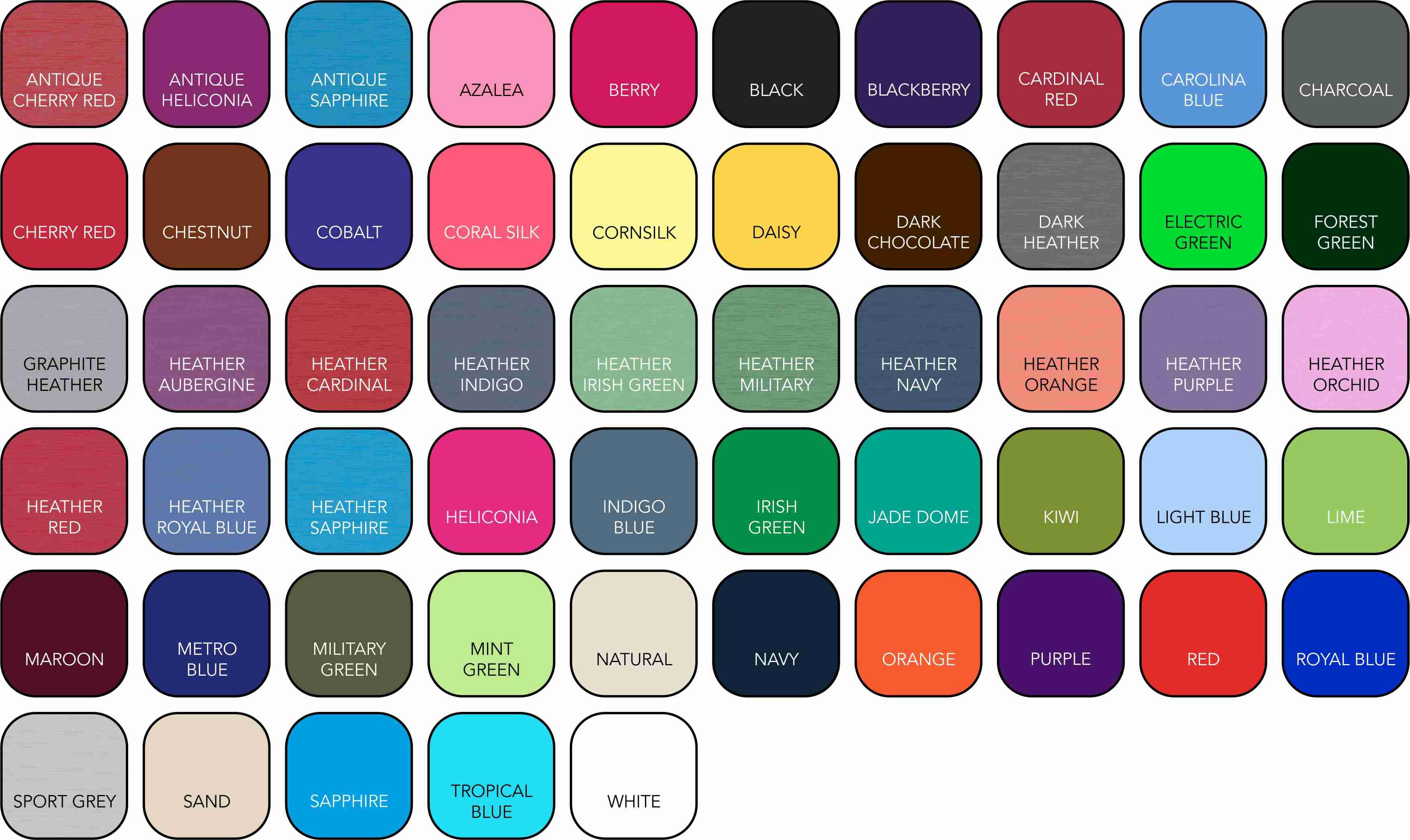 GD001 Unisex Colour Range