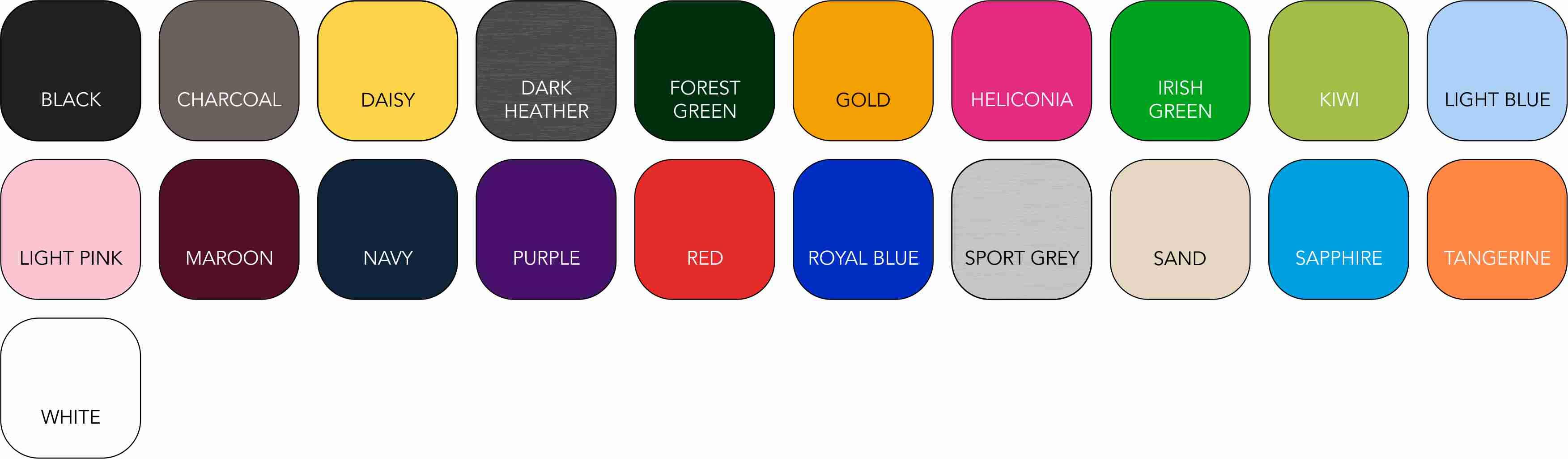 GD042 Unisex Colour Range