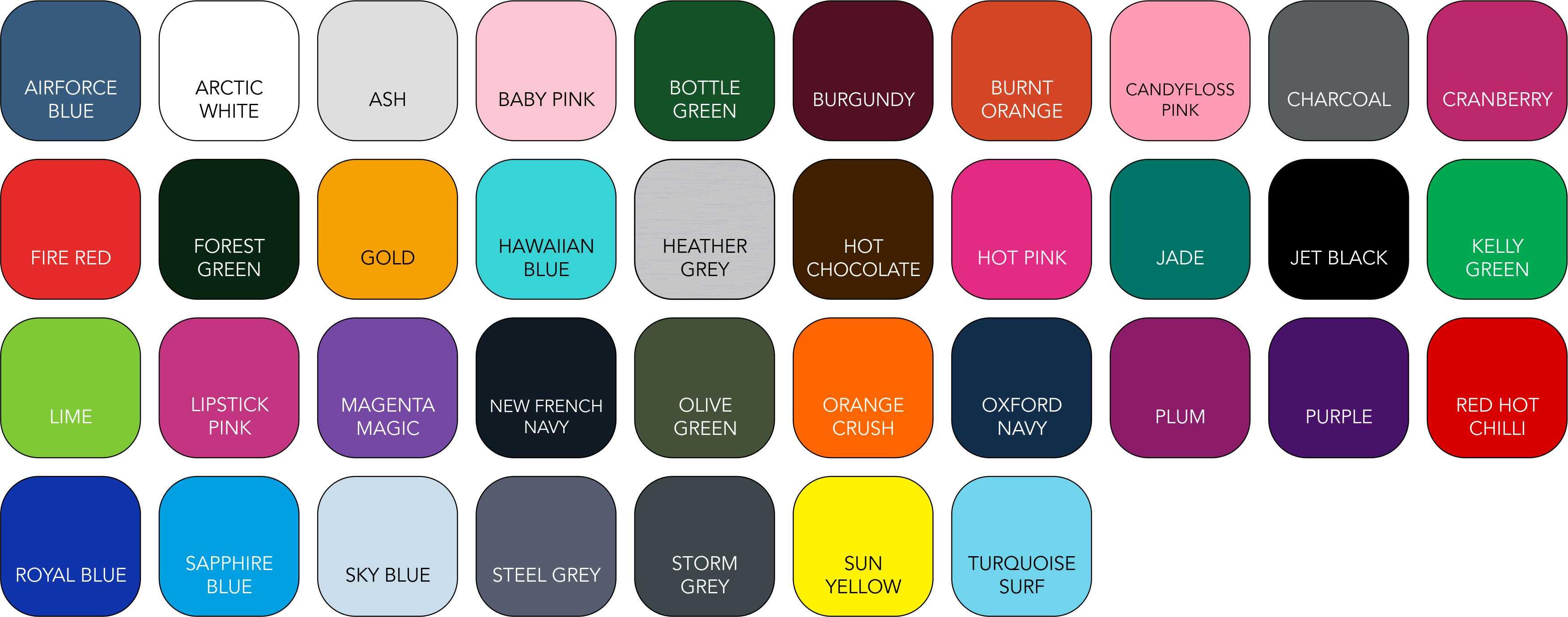 JH030 Unisex Colour Range