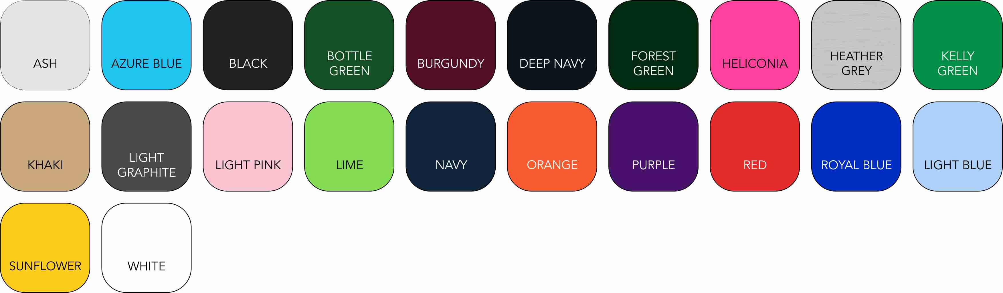SS255 Unisex Colour Range